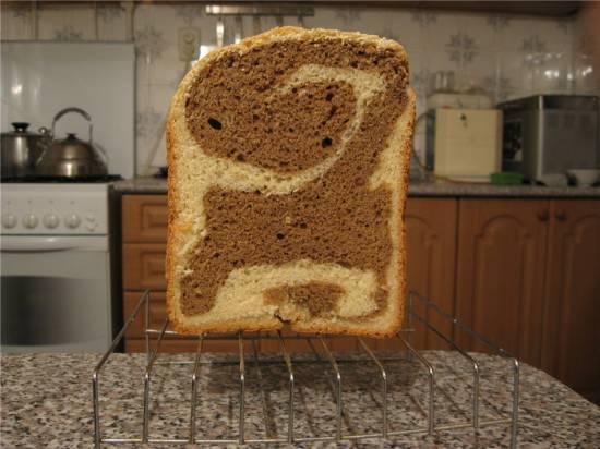 """Хлеб """"черно-белый дуэт"""" в хлебопечке"""