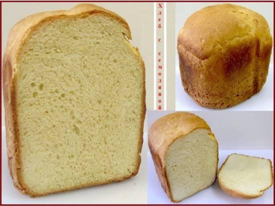 Хлеб пшеничный с семолиной в хлебопечке