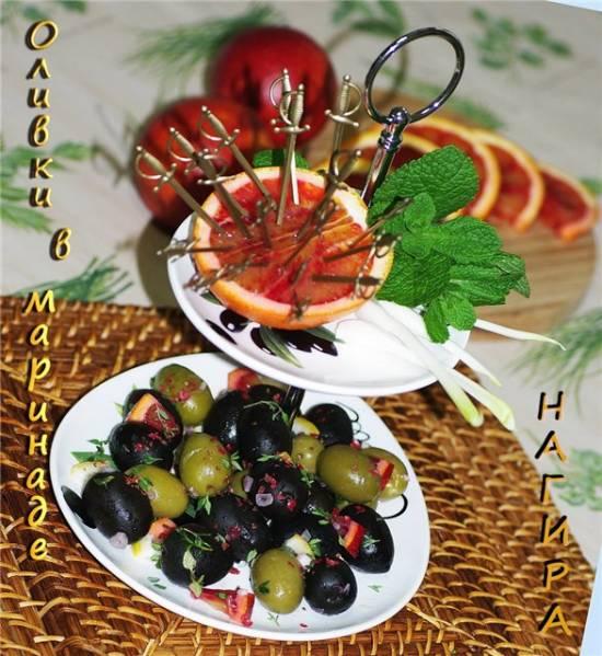 Оливки в лимонно-апельсиновом маринаде с чесноком и травами