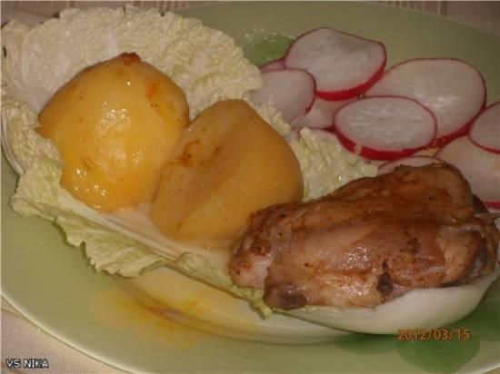 Курица в апельсиновом соке и картофель в апельсиновой подливе (скороварка Brand 6050)