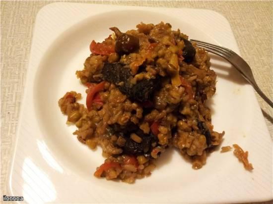 Маш с грибами и рисом