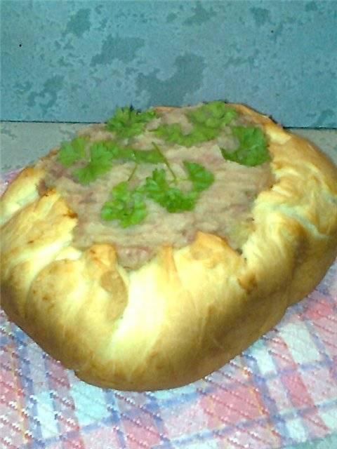 Пирог открытый картофельный с мясом в хлебопечке