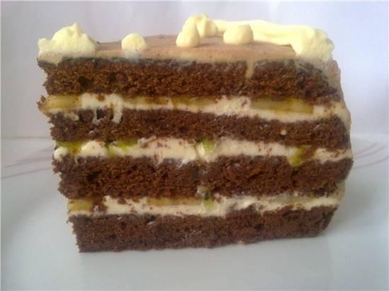 Шоколадно-кофейный  торт  с финиками
