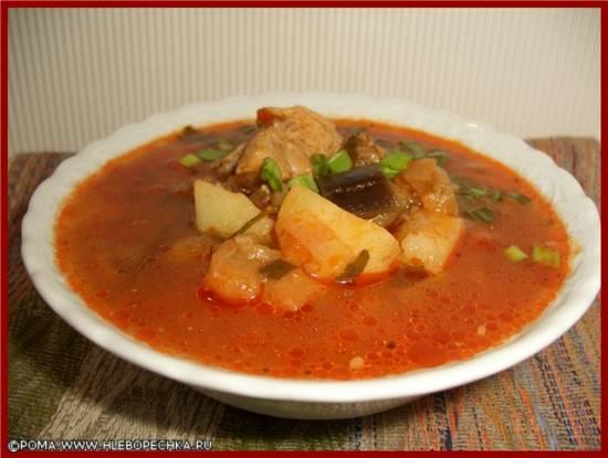 Суп красный с баклажанами