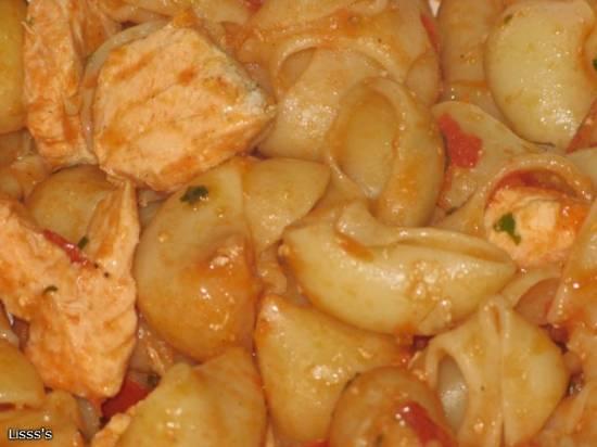Быстрые макароны с лососем