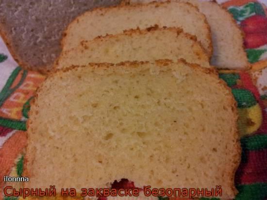 Сырный безопарный хлеб на закваске