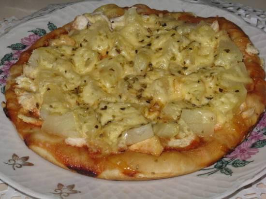Пицца с курицей и ананасом в мультиварке Dex 60