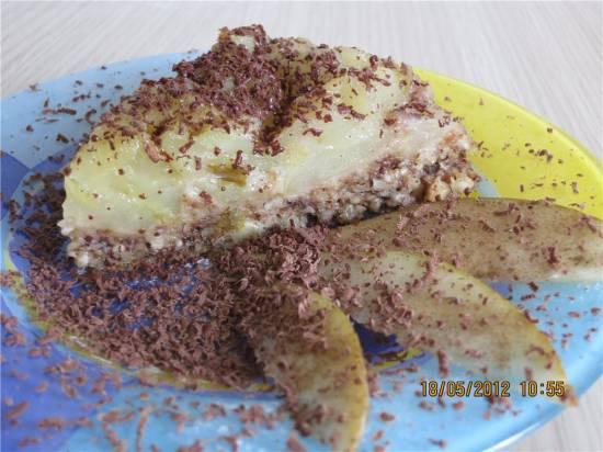 Пирог перевертыш с грушей и орехами