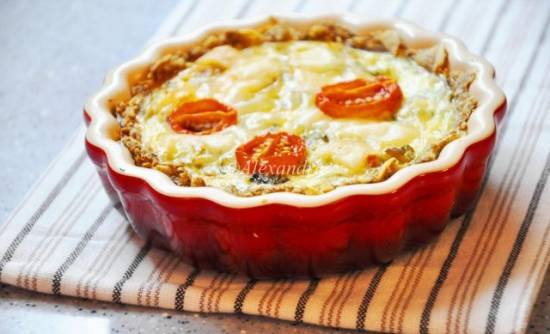 Киш с камамбером и вялеными помидорами Овощной киш в овсяно-минадльно-цельнозерновой тарталетке