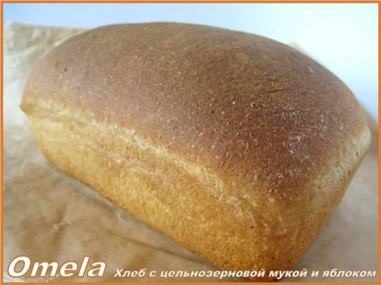 Хлеб с цельнозерновой мукой и яблоком в духовке