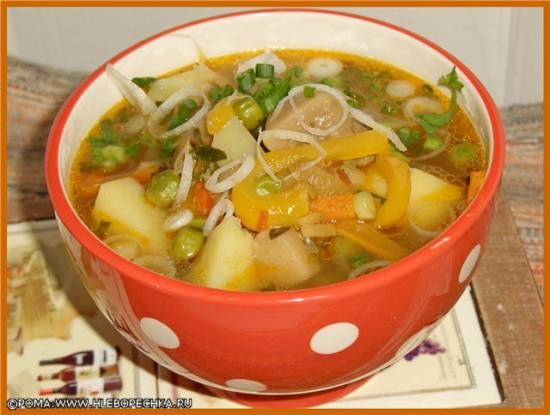 Суп из сушеных белых грибов с белой фасолью Суп с белыми грибами и зеленым горошком