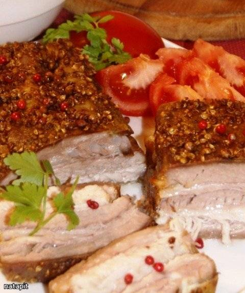 Мясо запеченное в сметанно-сырном кляре