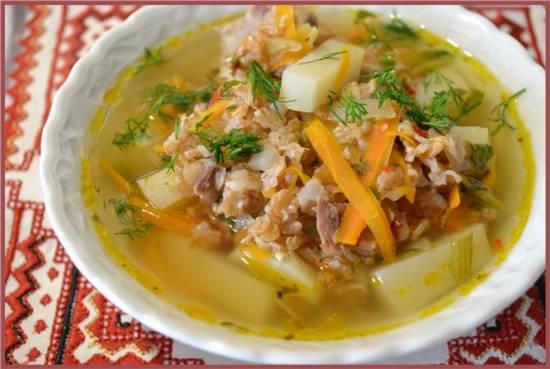 Мясной суп с пшеничными хлопьями