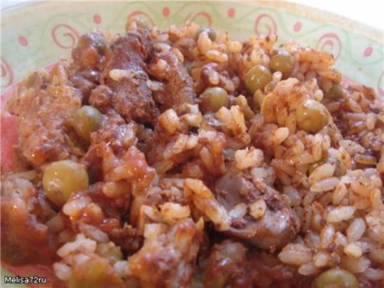 Куриная печень с рисом и зеленым горошком Печенка в горошек в мультиварке Brand  37501