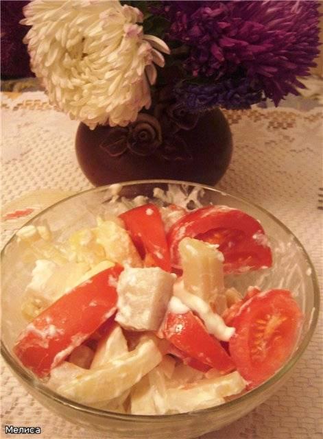Простой рыбный салат (из пангасиуса)