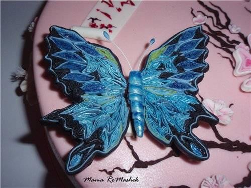 """Бабочка из мастики в технике """"квиллинг"""" Бабочка из мастики в технике """"квиллинг"""""""