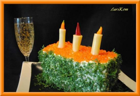 Торт-салат Икра с шампанским