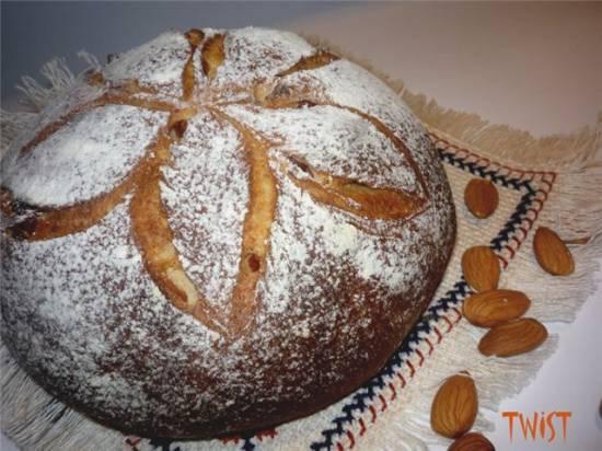 Хлеб с цельнозерновой пшеничной мукой, миндалем и курагой к воскресному завтраку