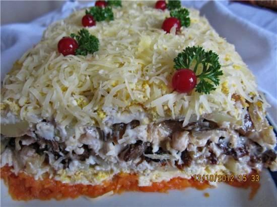Салат из копченой курицы с черносливом грибами