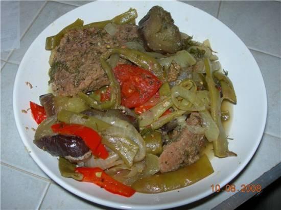 Телятина с овощами в духовке