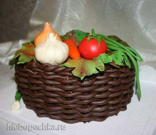 Торт «Корзина». Псевдо-плетение (мастер класс)