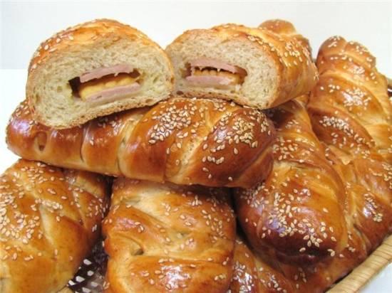 Датская булочка-плетёнка с сыром и ветчиной (духовка)