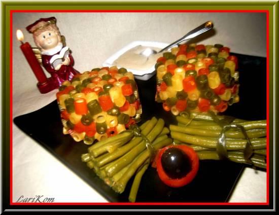 Timbales с макаронами и индейкой