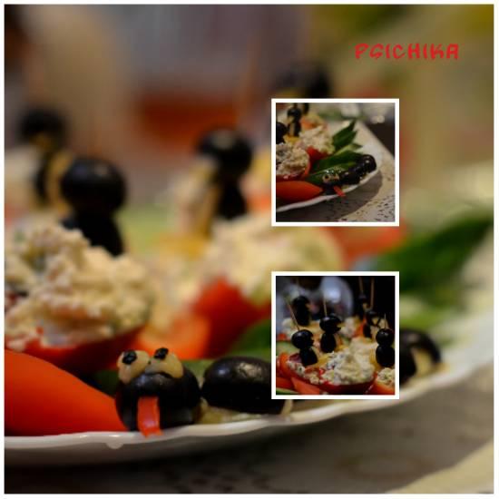 Пингвины и змея из маслин, сырно-творожная закуска или суфле