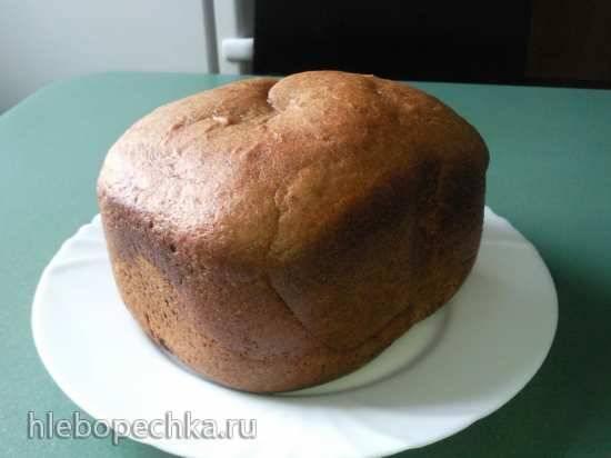 Пшенично-ржаной хлеб по рецепту на пачке муки (хлебопечка)