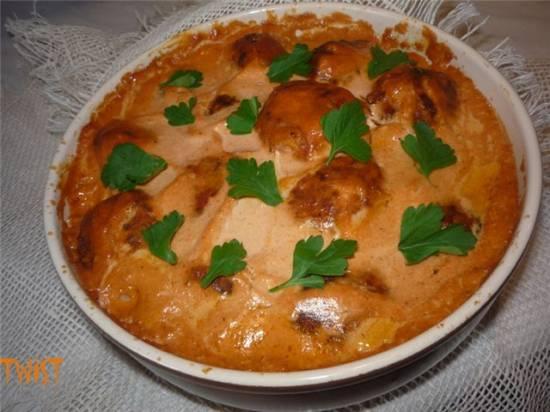 Мясные шарики в томатно-сливочном соусе