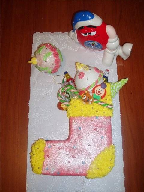 Торт Новогодний сапожок Мастер-класс