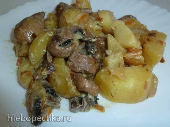 Грибы с картошкой тушеные  (скороварка Brand 6050)