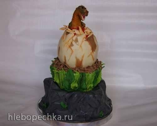 """Торт """"Рождение динозаврика"""" (мастер-класс)"""