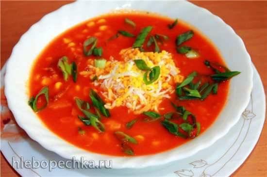 Крем-суп томатно-тыквенный в блендере-суповарке Endever SkyLine BS-90 Томатный суп с кукурузой и копченостями