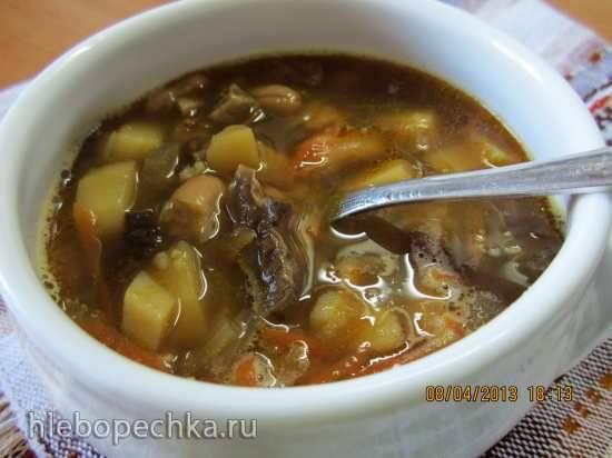 Суп постный с грибами и фасолью