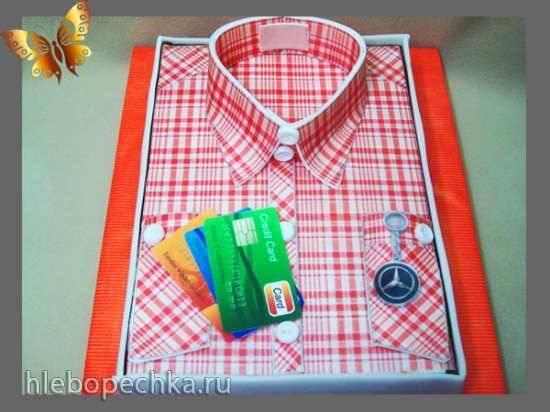"""Торт """"Рубаха"""" с вафельной бумагой (мастер-класс)"""