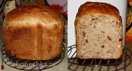 Хлеб с орехами, сухофруктами и медом из муки 2 сорта в хлебопечке