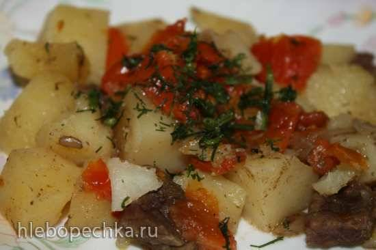 Тушеный картофель с мясом и помидорами в скороварке Oursson 5005