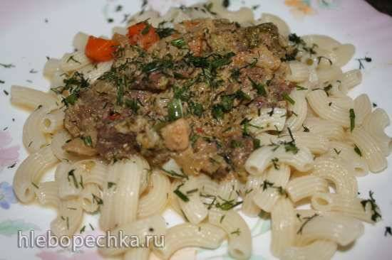 Тушеная говядина с овощами в сливочно-томатном соусе в Oursson MP5005