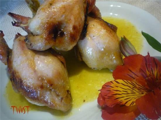 Перепелки в чесночно-имбирном соусе
