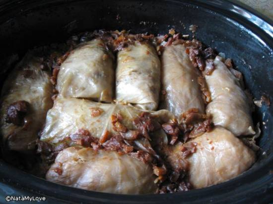 Голубцы с рисом,мясом и айвой