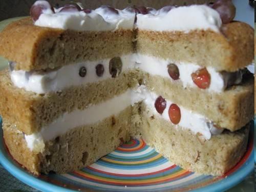 Торт бисквитный с легким сметанным кремом и виноградом в мультиварке Panasonic Торт бисквитный с легким сметанным кремом и виноградом в мультиварке Panasonic