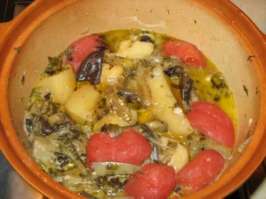 Чанах из баклажан без мяса в медленноварке
