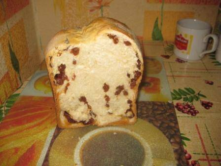 Сладкий хлеб  с изюмом и медом в хлебопечке