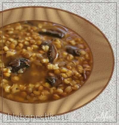 Суп перловый с чечевицей и грибами