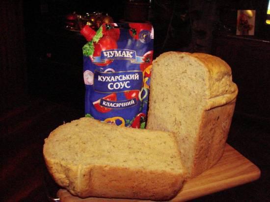Яично-томатный хлеб со свежей зеленью (хлебопечка)