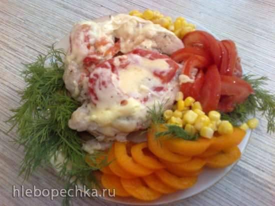 Отбивная куриная грудка под помидорами с сыром (Moulinex Cook4Me CE 7011)