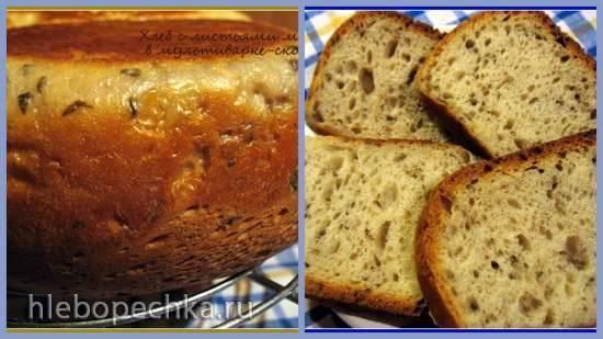 Белый хлеб с листьями малины в мультиварке-скороварке Brand 6051