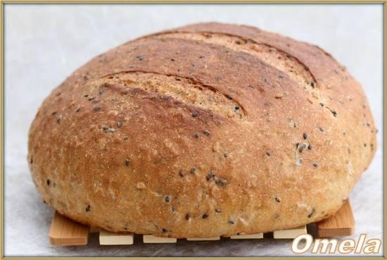 """Хлеб на жидких дрожжах """"Льняной колобок"""" Хлеб с цельнозерновой мукой, семенами льна и тмина"""