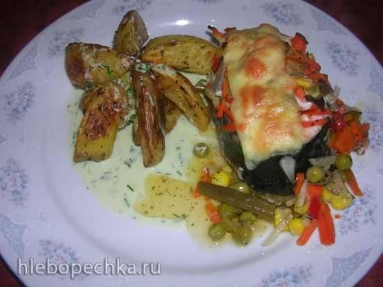 Семга с овощами (духовка)